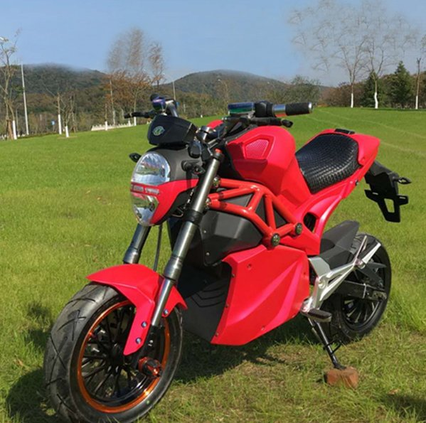Red 1500w powerful battery powered electric sports motorcycle e-Bike