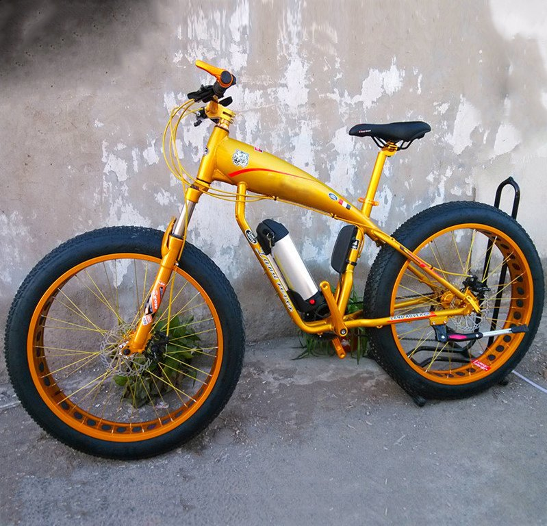 Gold fat framed electric mountain bicycle for sale to buy