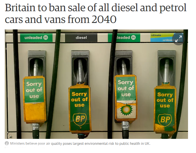 UK is to ban all petrol and diesel engines by the year 2040